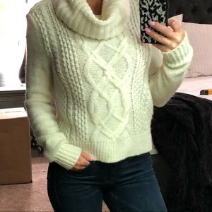 Express Cowl Neck Sweater - Ivory - XS
